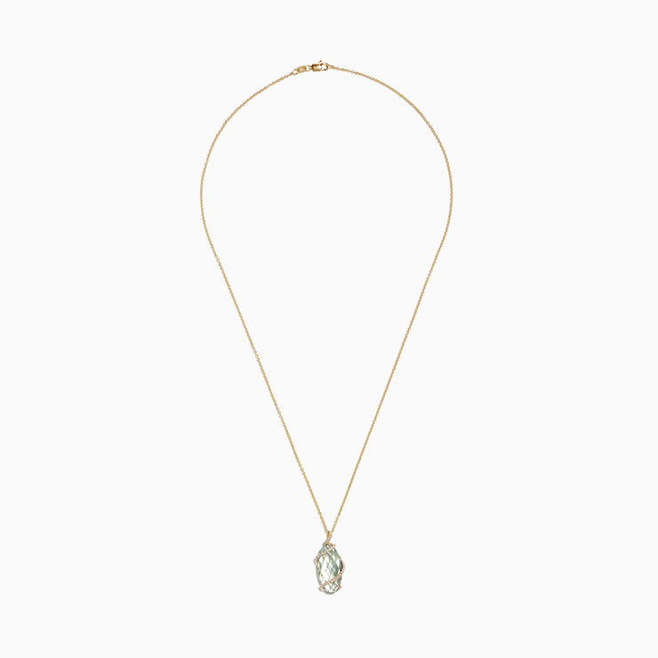 Effy 14K Yellow Gold Green Amethyst and Diamond Pendant, 7.29 TCW