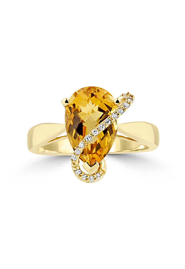Effy 14K Yellow Gold Pear Citrine and Diamond Ring, 2.45 TCW