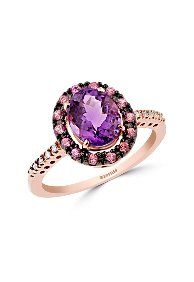 Effy 14K Rose Gold Amethyst, Pink Sapphire and Diamond Ring, 1.87 TCW