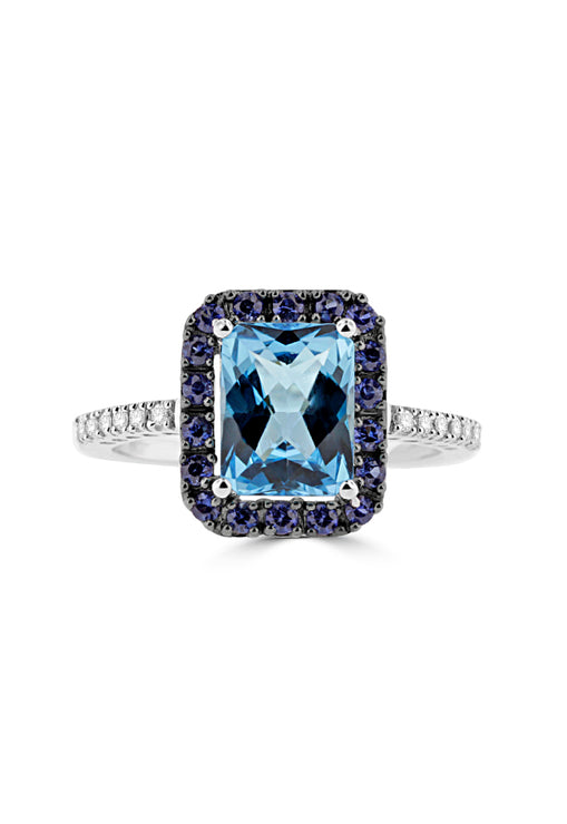 Effy 14K White Gold Blue Topaz, Sapphire and Diamond Ring, 3.39 TCW