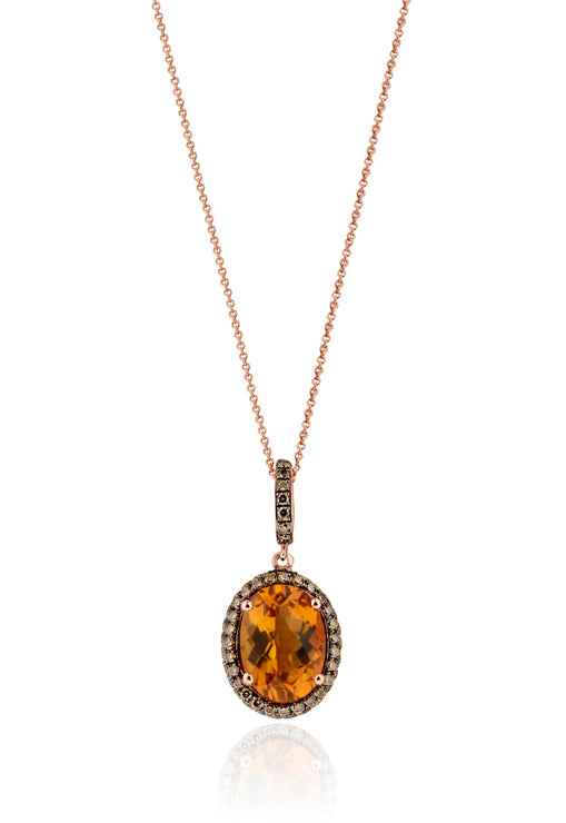 Effy 14K Rose Gold Citrine and Cognac Diamond Pendant, 6.33 TCW