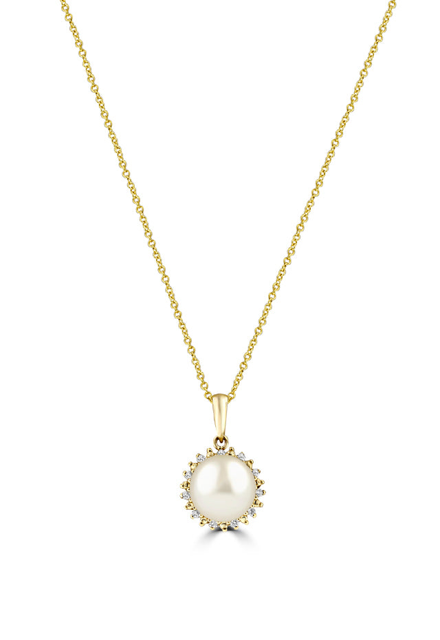 Effy 14K Yellow Gold Cultured Fresh Water Pearl & Diamond Pendant, 0.08 TCW