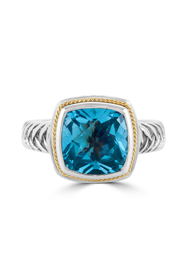 Effy Sterling Silver & 18K Yellow Gold Accented Blue Topaz Ring, 4.99 TCW