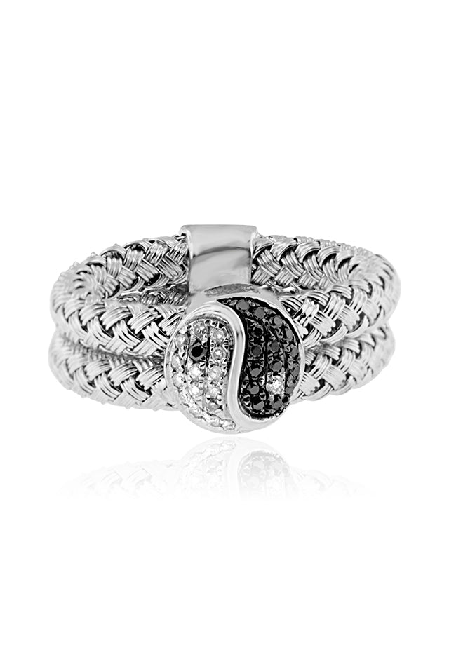 Effy 925 Sterling Silver Black and White Diamond Yin Yang Ring, 0.17 TCW