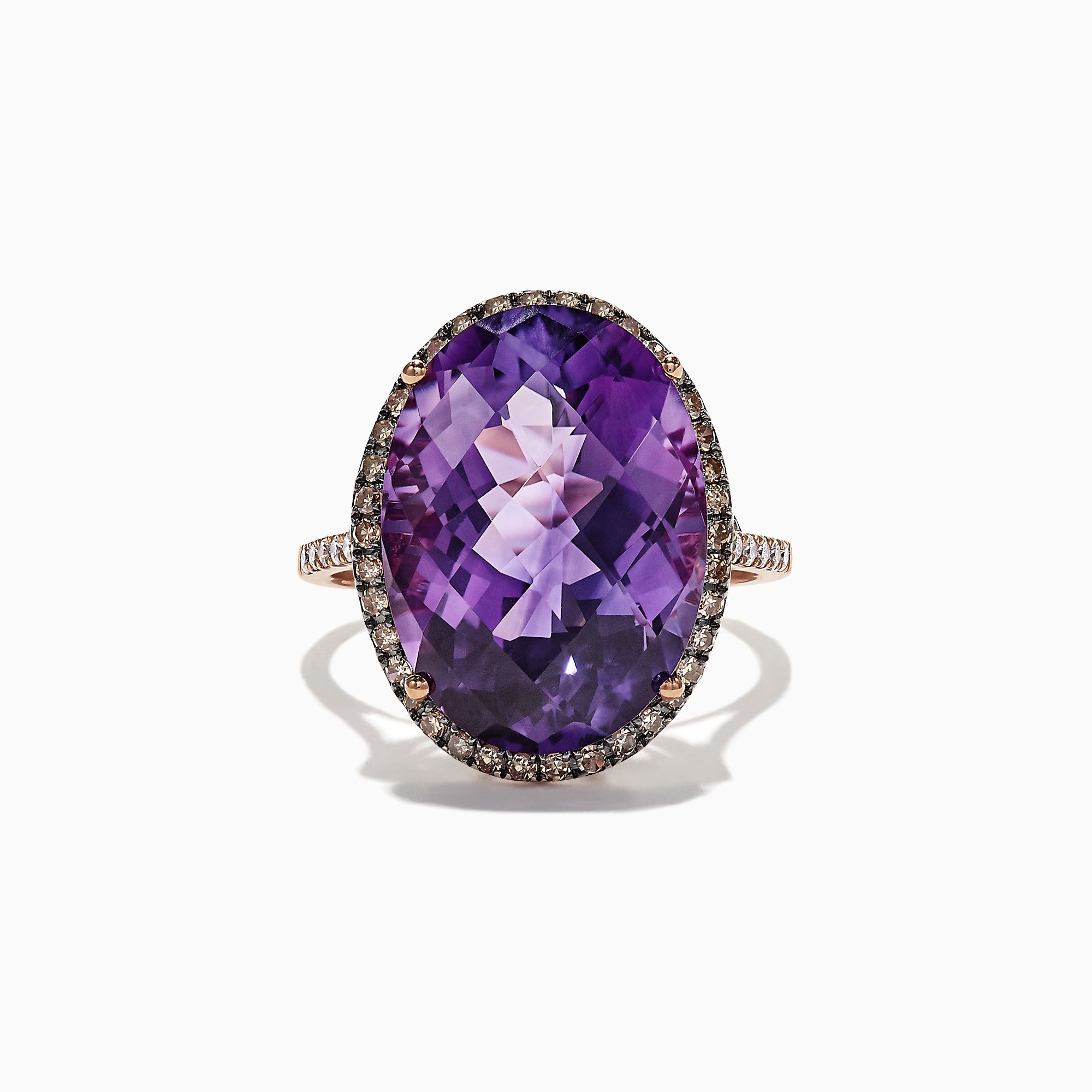 Effy 14K Rose Gold Amethyst and Diamond Ring, 12.57 TCW