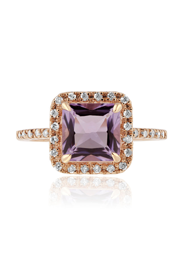 Effy 14K Rose Gold Amethyst and Diamond Ring, 2.39 TCW