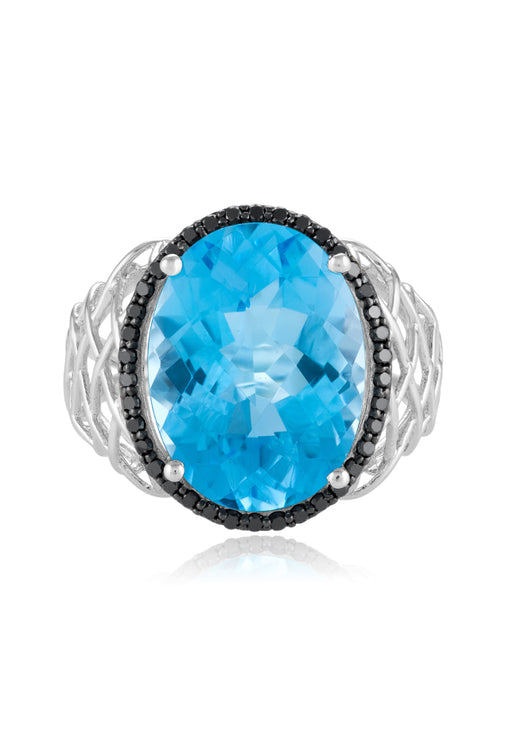 Effy 14K White Gold Blue Topaz and Diamond Ring, 10.86 TCW