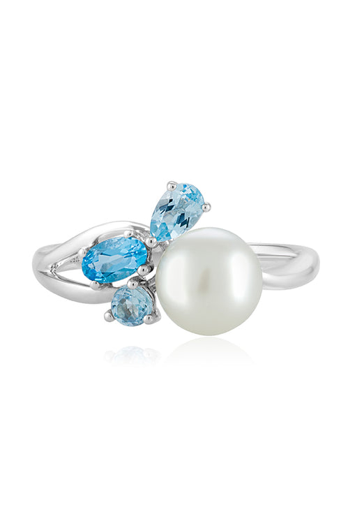 Effy 14K White Gold Cultured Fresh Water Pearl & Blue Topaz Ring, 0.38 TCW