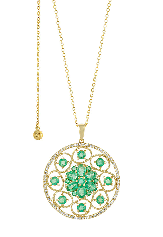Effy 14K Yellow Gold Emerald and Diamond Pendant, 5.45 TCW