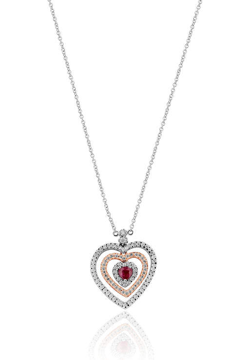 Effy 14K Two Tone Gold Ruby and Diamond Hearts Pendant, 0.82