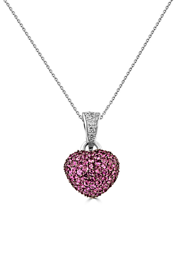 Effy 14K White Gold Pink Sapphire and Diamond Heart Pendant, 2.16 TCW