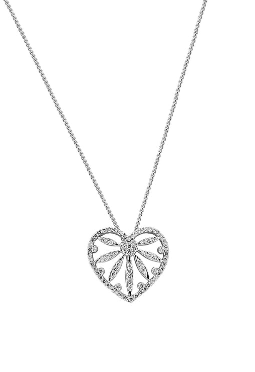 Effy 14K White Gold Diamond Heart Pendant, 0.96 TCW