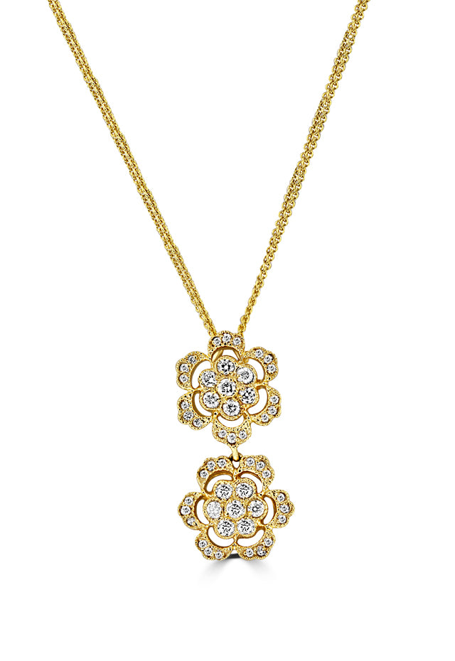 Effy 14K Yellow Gold Diamond Flowers Pendant, 0.98 TCW