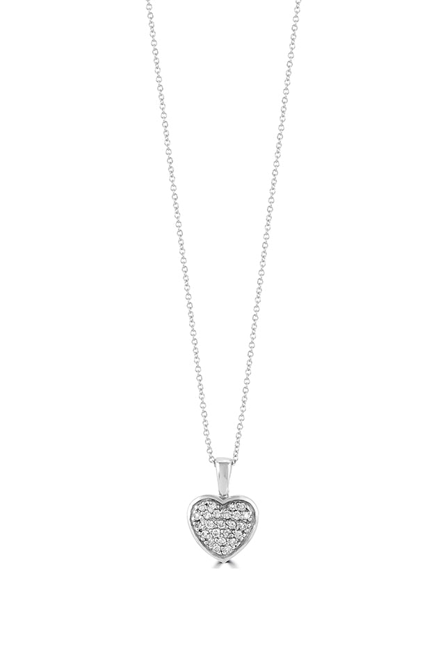 Effy 14K White Gold Diamond Small Heart Pendant, 0.18 TCW
