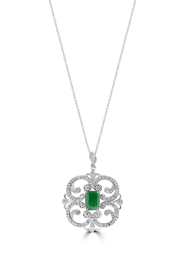 Effy 14K White Gold Emerald and Diamond Pendant, 2.03 TCW