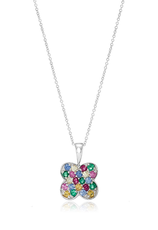 Effy 14K White Gold Multi Gemstone Pendant, 1.08 TCW