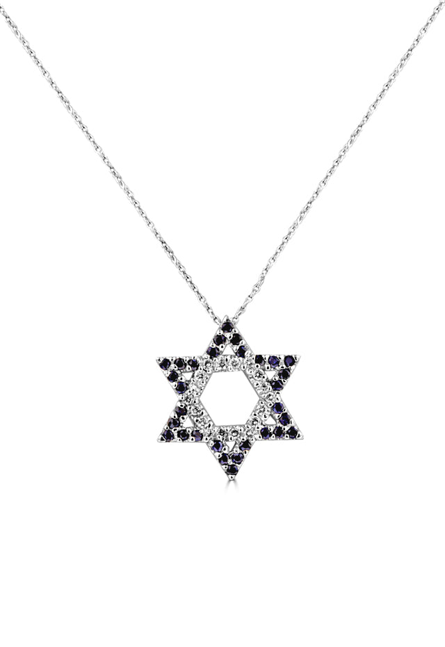 Effy 14K White Gold Blue Sapphire & Diamond Star of David Pendant, 0.89 TCW