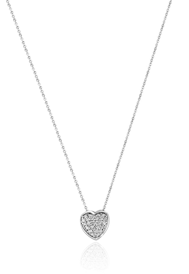 Effy 14K White Gold Small Diamond Heart Pendant, 0.24 TCW