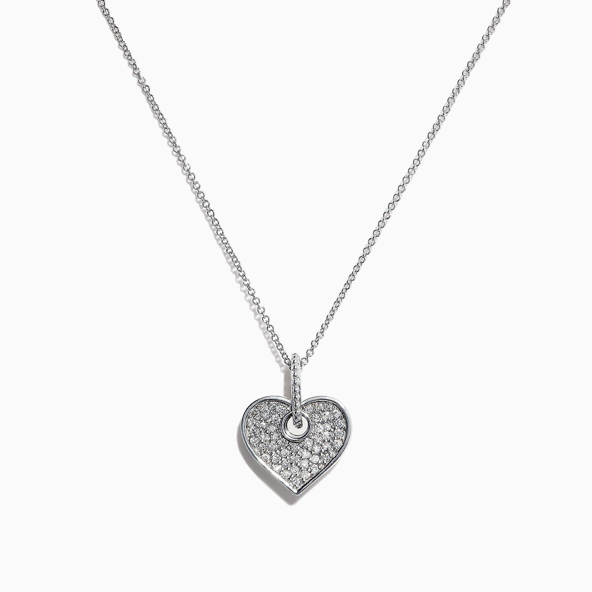 Effy 14K White Gold Diamond Heart Pendant, 0.35 TCW