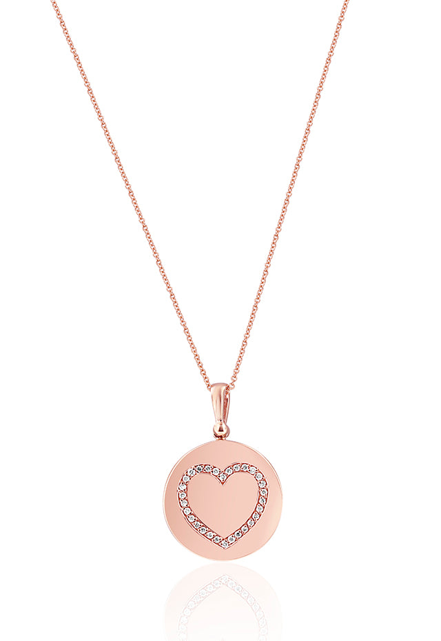 Effy 14K Rose Gold Diamond Accented Heart Pendant, 0.15 TCW