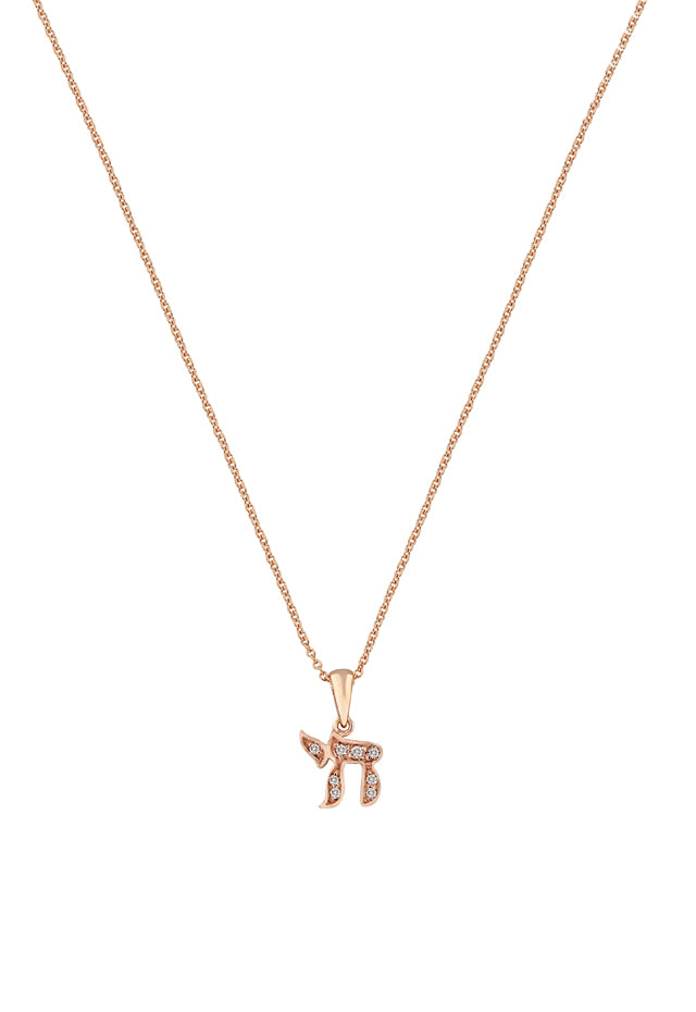 Effy Novelty 14K Rose Gold Diamond Chai Pendant, 0.07 TCW