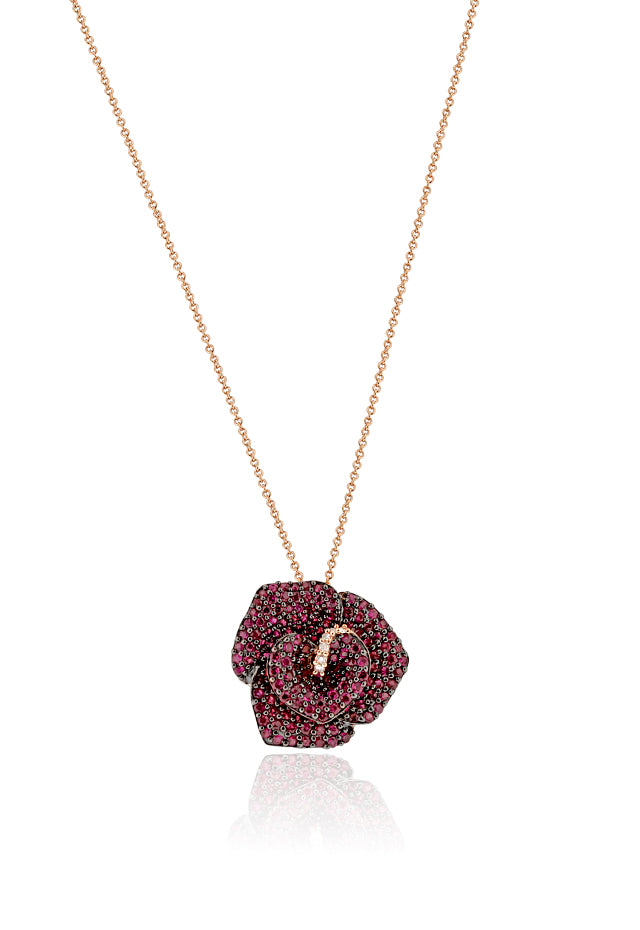 Effy 14K Rose Gold Ruby and Diamond Flower Pendant, 2.32 TCW