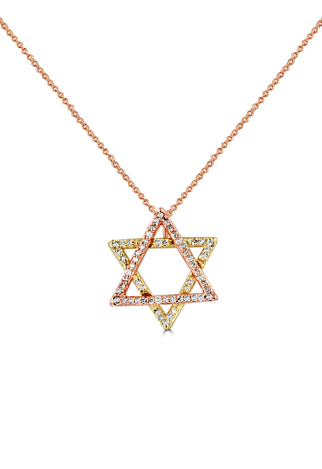 Effy 14K Yellow and Rose Gold Diamond Star of David Pendant, 0.29 TCW