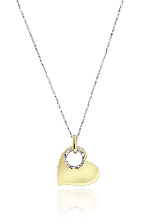 Effy 14K Yellow and White Gold Diamond Accented Heart Pendant, 0.10 TCW