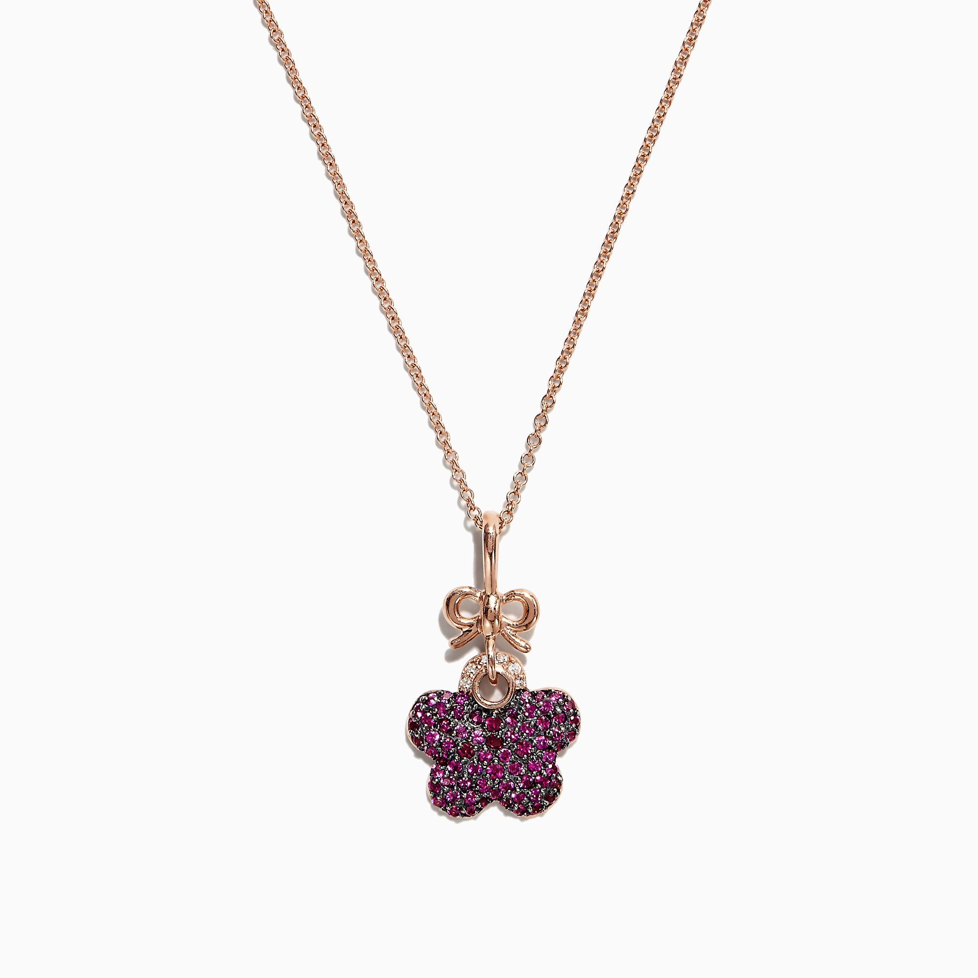Effy 14K Rose Gold Ruby and Diamond Butterfly Pendant, 0.71 TCW