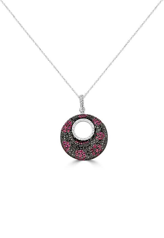 Effy 14K White Gold Ruby, Black and White Diamond Pendant, 2.08 TCW