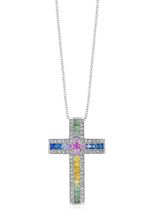 Effy 14K White Gold Multi Sapphire and Diamond Cross Pendant, 3.00 TCW