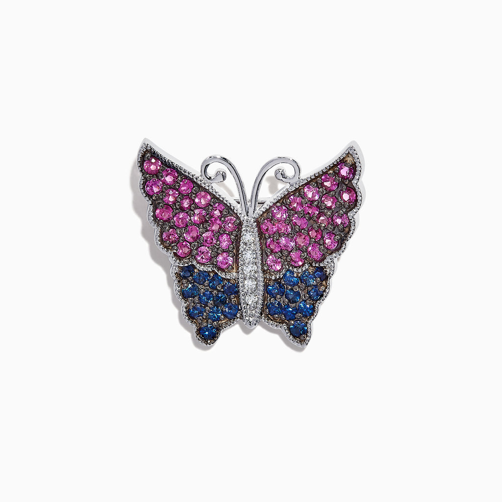 Effy 14K White Gold Multi Sapphire and Diamond Butterfly Pin, 2.46 TCW