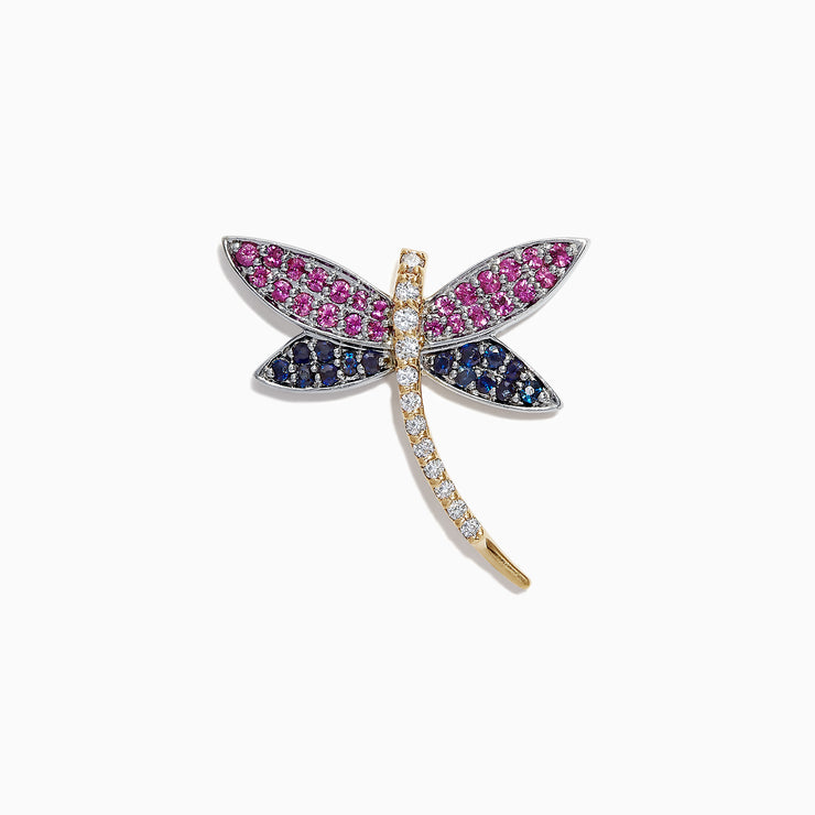 Effy 14K 2-Tone Gold Multi Sapphire and Diamond Dragonfly Pin, 1.12 TCW