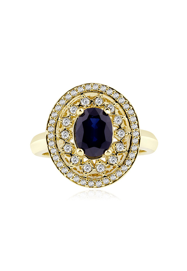 Effy 14K Yellow Gold Blue Sapphire and Diamond Ring, 1.92 TCW