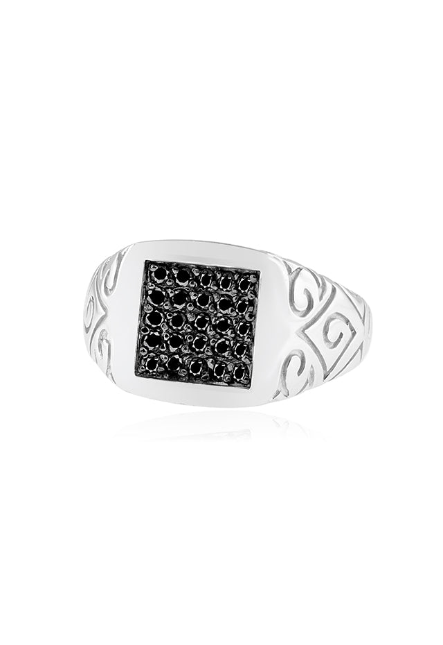 Effy Men's 14K White Gold Black Diamond Ring, 0.49 TCW