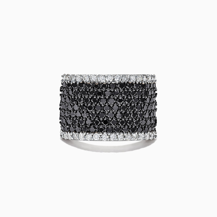 Effy 14K White Gold Black and White Diamond Pave Ring, 2.74 TCW