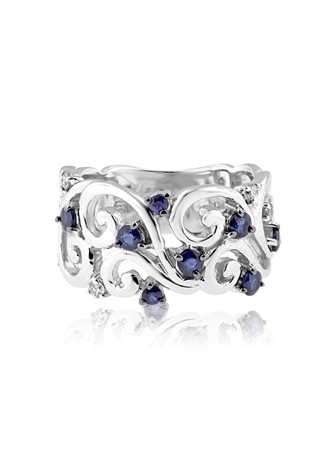 Effy 14K White Gold Blue Sapphire and Diamond Filigree Ring, 0.77 TCW