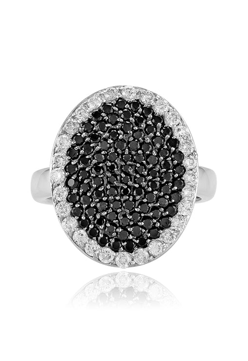 Effy 14K White Gold Black and White Diamond Ring, 1.40 TCW