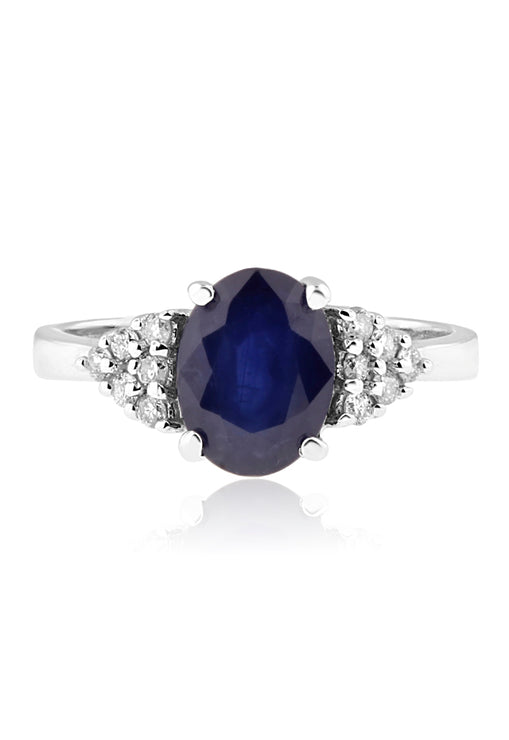Effy 14K White Gold Blue Sapphire and Diamond Ring, 2.08 TCW