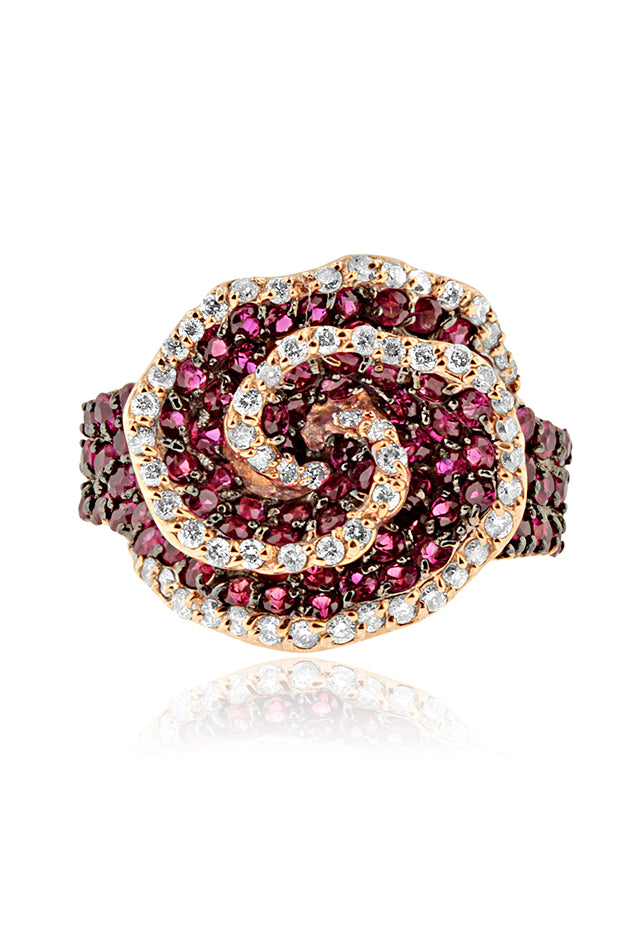 Effy 14K Rose Gold Ruby and Diamond Swirl Ring, 3.15 TCW