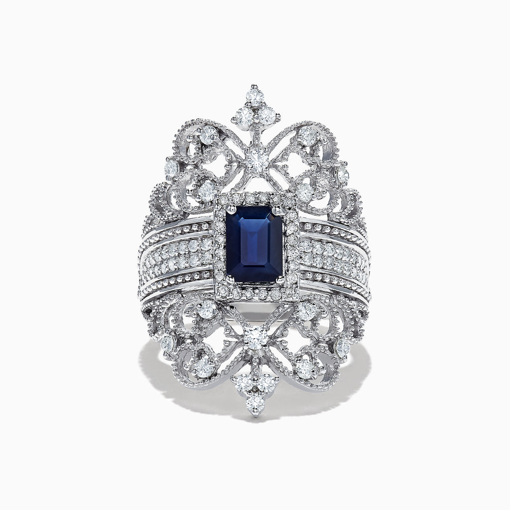 Effy 14K White Gold Blue Sapphire and Diamond Ring, 1.78 TCW