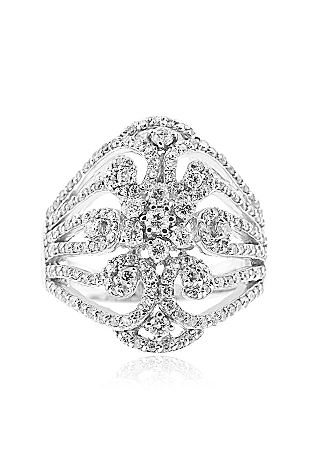 Effy Pave Classica 14K White Gold Diamond Bouquet Ring, 1.10 TCW