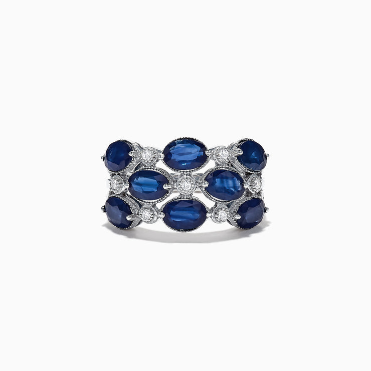 Effy 14K White Gold Blue Sapphire and Diamond Ring, 4.66 TCW