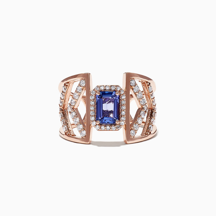 Effy 14K Rose Gold Tanzanite and Diamond Geometric Ring, 1.41 TCW