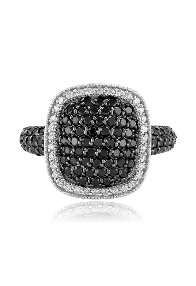Effy 14K White Gold Black and White Diamond Ring, 1.18 TCW