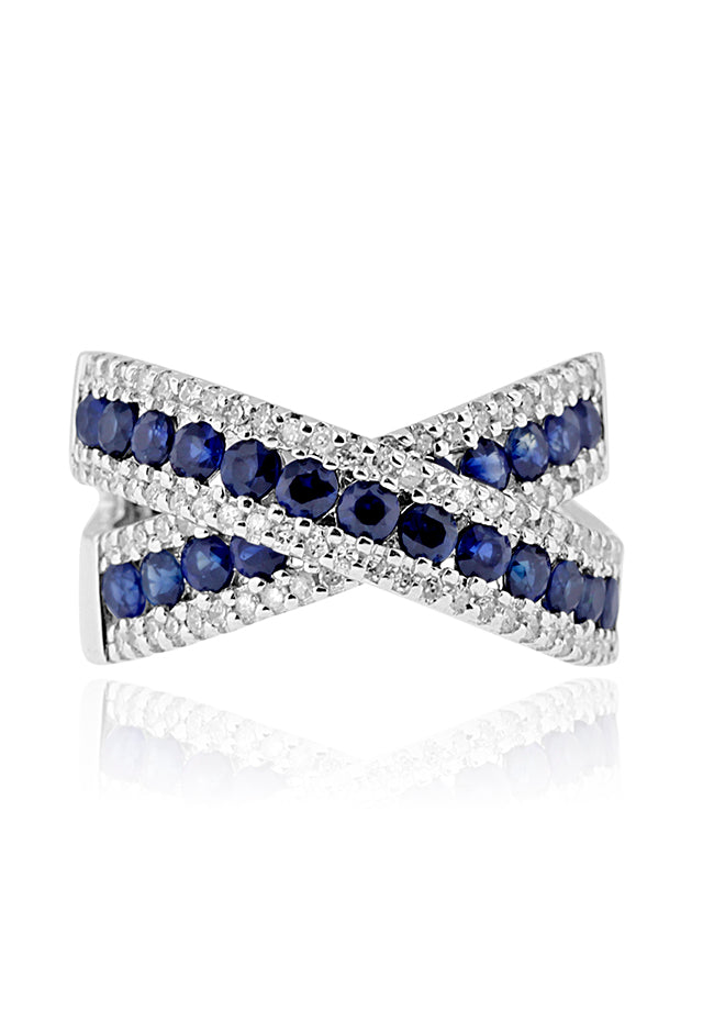 Effy 14K White Gold Blue Sapphire and Diamond Criss Cross Ring, 2.28 TCW