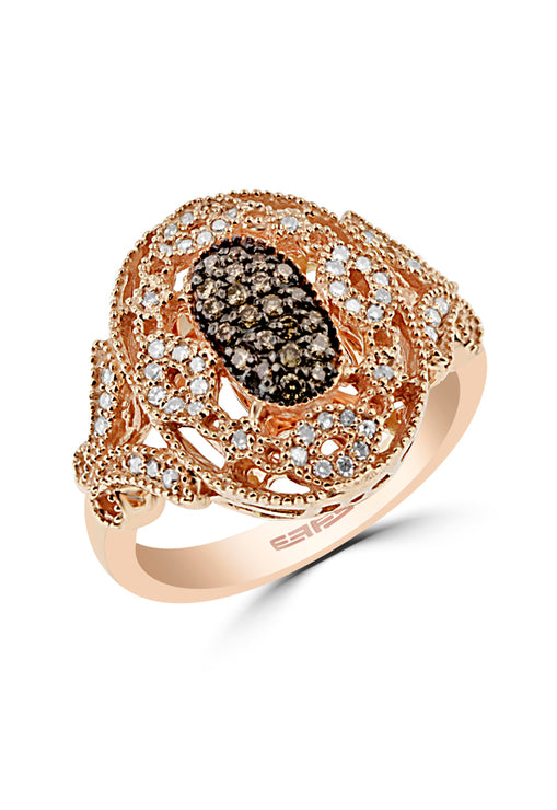 Effy 14K Rose Gold Cognac and White Diamond Ring, 0.36 TCW