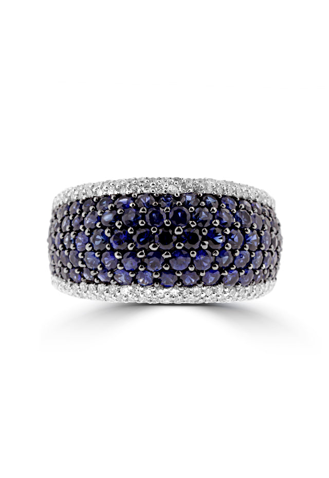 Effy 14K White Gold Blue Sapphire and Diamond Ring, 3.56 TCW