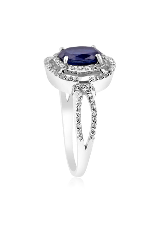 Effy 14K White Gold Blue Sapphire and Diamond Ring, 1.79 TCW