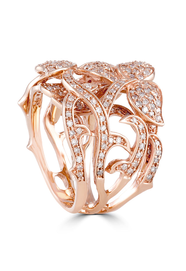 Effy 14K Rose Gold Diamond Filigree Double Layered Band Ring, 0.94 TCW
